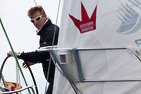 Ian Williams keeps an eye on his opponent during day 2 of Match Race Germany. World Match Racing Tour. Langenargen, Germany. 21 May 2010.
