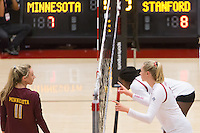 STANFORD, CA - August 28, 2016: Hayley Hodson, Inky Ajanaku, Kathryn Plummer at Maples Pavilion. The Stanford Cardinal defeated the University of Minnesota 3-1.