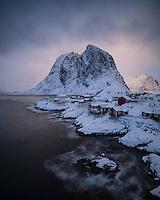 Iconic view over Rorbu cabins on Hamnøy, Moskenesøy, Lofoten Islands, Norway