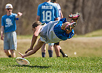 2 May 2015: Vermont Commons School plays Central Vermont Union High School in the Champlainships Ultimate Frisbee Tournament at Williston Central School in Williston, Vermont. Mandatory Credit: Ed Wolfstein Photo *** RAW (NEF) Image File Available ***