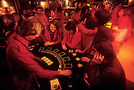 Wasco, Oregon, February 1984: A disco and casino at Rajneeshpuram. Rajneeshpuram, was an intentional community in Wasco County, Oregon, briefly incorporated as a city in the 1980s, which was populated with followers of the spiritual teacher Osho, then known as Bhagwan Shree Rajneesh. The community was developed by turning a ranch from an empty rural property into a city complete with typical urban infrastructure, with population of about 7000 followers.