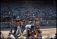 Let your freak flag fly, fans and heads chilling before the Grateful Dead concert begins at Roosevelt Stadium on 4 August 1976.