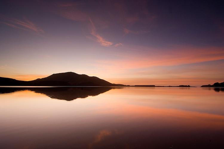 Serene sunrise relfection at Hoopers Inlet on the Otago Peninsula. Dunedin New Zealand - stock photo, canvas, fine art print