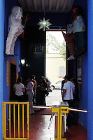 Mexico City - La Casa Azul or Blue House of famous Mexican artist Frida Kahlo is located in the Town of Coyoacán, in south Mexico City. Today it houses the Frida Kahlo Museum (Museo Frida Kahlo) where some of Frida's belongings and artifacts are on display. The Blue House of Frida Kahlo is a favorite destination for tourists from around the world. The house belonged to Kahlo's family. Guillermo Kahlo, Frida's father, built the house in 1904. Frida was born in the Blue House in 1907 and died in 1954, also in the same house. Frida's husband, famous muralist Diego Rivera, bought the house and later donated it in 1957, the same year he died. Photo by Eduardo Barraza © 2012