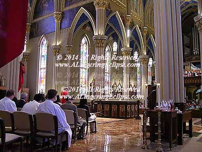 Catholic Mass Celebration , University of Notre Dame Cathedral , Father Rocca