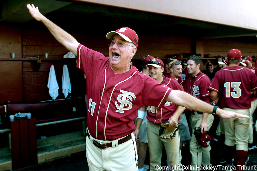 "TALLAHASSEE, FL. 6/8/08-Florida State Coach Mike Martin shouts to his family ""we're flying to Omaha"" after the Seminoles defeated Wichita State 11-4 to advance to the College World Series, Sunday at Dick Howser Stadium in Tallahassee. FSU has never won the CWS and it has been eight years since their last trip to Omaha. COLIN HACKLEY PHOTO"