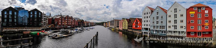 Norway, Sør-Trøndelag, Trondheim. View from Bakke bridge. Stitched panorama.
