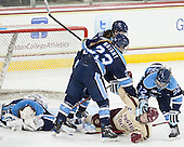 Anna Wright (Maine - 23), Kate Leary (BC - 28), Brianne Kilgour (Maine - 22) - The Boston College Eagles defeated the visiting University of Maine Black Bears 5 to 1 on Sunday, October 6, 2013, in their Hockey East season opener at Kelley Rink in Conte Forum in Chestnut Hill, Massachusetts.