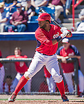 13 March 2014: Washington Nationals outfielder Denard Span in action during a Spring Training game against the New York Mets at Space Coast Stadium in Viera, Florida. The Mets defeated the Nationals 7-5 in Grapefruit League play. Mandatory Credit: Ed Wolfstein Photo *** RAW (NEF) Image File Available ***