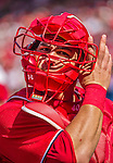 28 September 2014: Washington Nationals catcher Wilson Ramos dons his mask during action against the Miami Marlins at Nationals Park in Washington, DC. The Nationals shut out the Marlins 1-0, caping the season with the first Nationals no-hitter in modern times. The win also notched a 96 win season for the Nats: the best record in the National League. Mandatory Credit: Ed Wolfstein Photo *** RAW (NEF) Image File Available ***
