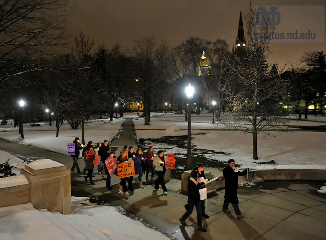 "Students walk campus on the ""Take Back the Night"" march as part of sexual assault awareness week...Photo by Matt Cashore/University of Notre Dame"