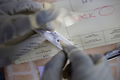 Medical staff conducting rapid test for malaria from MSF mobile clinic in Central African Republic