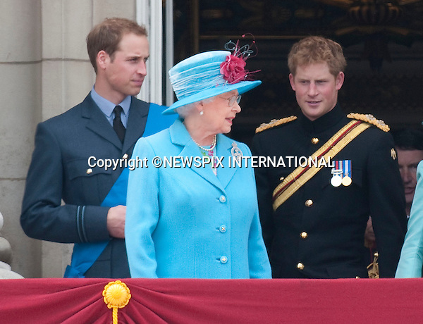 """TROOPING THE COLOUR 2009.Members of the royal join the Queen on the balcony of Buckingham Palace to watch the fly-past b the RAF. For the first time this year Prince William wore an RAF uniform as he has recently joined them..The Queen's Official Birthday celebrations, attended by Prince Charles, Prince William, Prince Harry, Camilla, Prince Edward and Princess Anne. London_13/06/2009.Mandatory Photo Credit: ©Dias/Newspix International..**ALL FEES PAYABLE TO: """"NEWSPIX INTERNATIONAL""""**..PHOTO CREDIT MANDATORY!!: NEWSPIX INTERNATIONAL(Failure to credit will incur a surcharge of 100% of reproduction fees)..IMMEDIATE CONFIRMATION OF USAGE REQUIRED:.Newspix International, 31 Chinnery Hill, Bishop's Stortford, ENGLAND CM23 3PS.Tel:+441279 324672  ; Fax: +441279656877.Mobile:  0777568 1153.e-mail: info@newspixinternational.co.uk"""