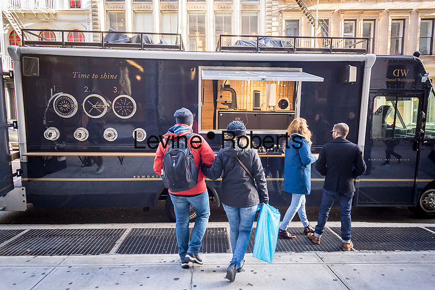 Pop-up truck selling Swedish brand Daniel Wellington watches in Soho in New York on Sunday, December 4, 2016. (© Richard B. Levine)