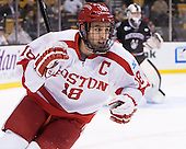 Wade Megan (BU - 18) - The Northeastern University Huskies defeated the Boston University Terriers 3-2 in the opening round of the 2013 Beanpot tournament on Monday, February 4, 2013, at TD Garden in Boston, Massachusetts.