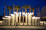 Artist Chris Burden istallation of old Los Angeles street lamps at the newly opened Borad contemporary Art Musuem at LACMA