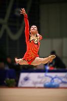Silviya Miteva of Bulgaria split leaps to re-catch with rope at Burgas Grand Prix Rhythmic Gymnastics on May 6, 2006.   (Photo by Tom Theobald)