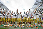 Sep. 1, 2012; The Notre Dame Football team celebrates after defeating Navy at Aviva Stadium...Photo by Matt Cashore/University of Notre Dame