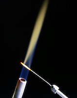 BARIUM FLAME TEST<br /> Yellow-Green Flame<br /> (Alkaline earth metal) Barium compound is dissociated by flame into gaseous atoms, not ions. Atoms of the element are raised to excited state by high temperature of flame. Excess energy from the atom is emitted as light of a characteristic wavelength.