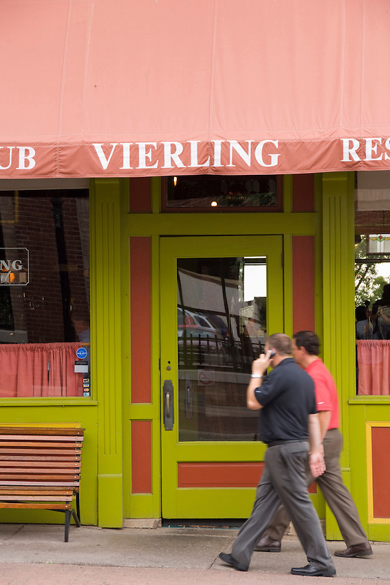 Activity outside The Vierling Restaurant and Marquette Harbor Brewery in downtown Marquette Michigan.
