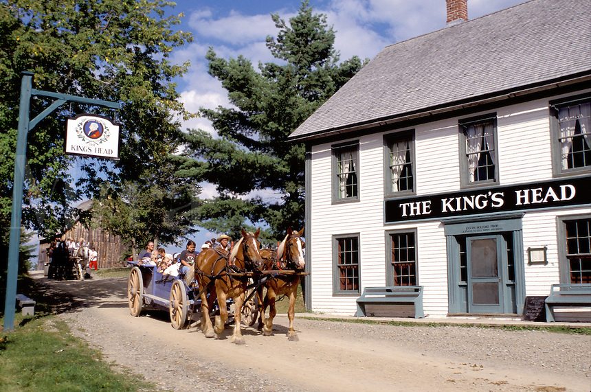 New Brunswick, NB, Canada, Wagon rides at King's Landing Historical Settlement next to King's Head Inn.