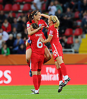 Players of team England celebrate during the FIFA Women's World Cup at the FIFA Stadium in Dresden, Germany on July 1st, 2011.