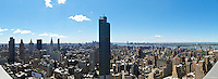 The view looking South from the top of The Continental, located at West 32nd St and 6th Ave.  In this panorama you can see the Hudson River, New Jersey and downtown Manhattan.