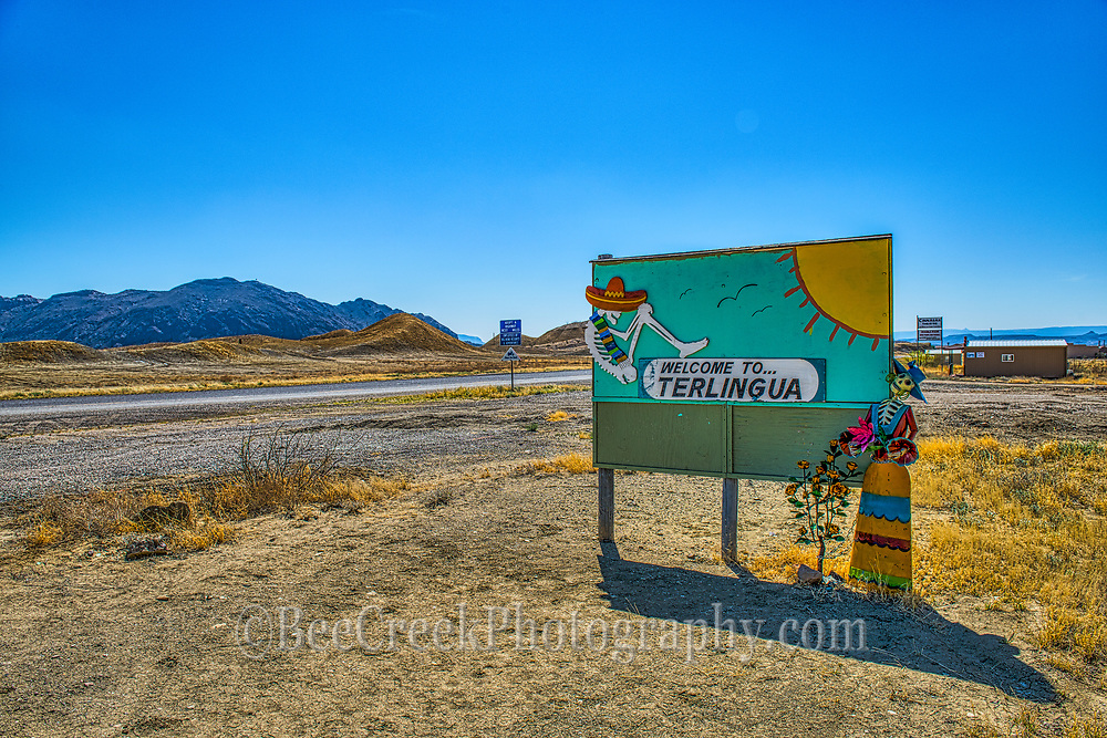 Keeping the theme of Ghost Town alive this sign welcome people to Terlingua. I was particulary fond of the colorful outfit of the skeliton next to the sign. Again this wasn't acturally Terlingua but it was close enough.
