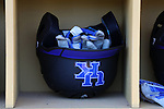 19 February 2017: Kentucky batting helmet and gloves. The University of North Carolina Tar Heels hosted the University of Kentucky Wildcats in a College baseball game at Boshamer Stadium in Chapel Hill, North Carolina. UNC won the game 5-4.