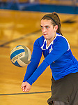 18 October 2015: Yeshiva University Maccabee Libero and Defensive Specialist Dalia Sieger, a Sophomore from Los Angeles, CA, warms up prior to a game against the College of Mount Saint Vincent Dolphins at the Peter Sharp Center, in Riverdale, NY. The Dolphins defeated the Maccabees 3-0 in the NCAA Division III Women's Volleyball Skyline matchup. Mandatory Credit: Ed Wolfstein Photo *** RAW (NEF) Image File Available ***