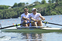 Hamilton, NEW ZEALAND. GBR M2-, Bow Peter REED and Andy TRIGGS HODGE move away from the start in the Men's Pair.  2010 World Rowing Championship on Lake Karapiro Sunday  31/10/2010. [Mandatory Credit Peter Spurrier:Intersport Images].