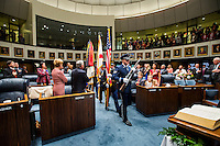 TALLAHASSEE, FLA. 11/18/14-ORGSESS111814CH-A Florida Army and Air National Guard Color Guard presents the colors at the opening of the Senate during the Organizational Session of the Legislature, Nov. 18, 2014 at the Capitol in Tallahassee.<br /> <br /> COLIN HACKLEY PHOTO