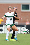 04 September 2015: William & Mary's Leci Irvin (30) and Wake Forest's Madison Baumgardner (behind). The Wake Forest University Demon Deacons played the William & Mary University Tribe at Dail Soccer Field in Raleigh, NC in a 2015 NCAA Division I Women's Soccer game. The game ended in a 1-1 tie.