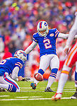 9 November 2014: Buffalo Bills kicker Dan Carpenter converts an opening drive touchdown against the Kansas City Chiefs at Ralph Wilson Stadium in Orchard Park, NY. The Chiefs rallied with two fourth quarter touchdowns to defeat the Bills 17-13. Mandatory Credit: Ed Wolfstein Photo *** RAW (NEF) Image File Available ***