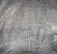 Prehistoric Petroglyph, rock carving, of what is known as the Map of Bebolina with depictions of huts raised on wooden poles and field systems carved by the Camunni people in the iron age between 1000-1600 BC, Bedolina Rock no 1 , Seradina-Bedolina Archaeological Park, Valle Comenica, Lombardy, Italy