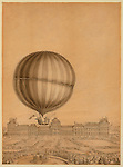 Vintage Illustration: TITLE:  [Departure of Jacques Charles and Marie-Noel Robert's 'aerostatic globe' balloon from the Jardin des Tuileries, Paris, on Dec. 1, 1783].  Drawing shows Jacques Charles and Nicolas Marie-Noel Robert standing in their hydrogen-filled balloon waving flags, beginning their ascent from the Tuileries Gardens, Paris, with the Versailles Palace in the background. Thousands of spectators are gathered in the foreground to witness the first manned gas balloon flight.