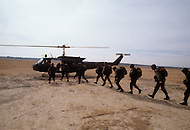 Fort Bragg, North Carolina - January 1980. Picture taken of members of the 82nd  Division training in helicopter tactics at Fort Bragg. The 82nd Airborne Division, founded in 1917, is an active duty airborne division of the United States Army, and specializes in parachute assault operations.