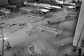 "Samara, Russia  .October 1997.""Aviacor""-Russian joint stock company produces and repairs TU-154M passenger planes. In the ghost like hanger for painting the planes nothing moves as there are no more orders and work has simply stopped.."