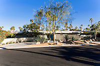 Frontage of typical mid-century modern home in Palm Springs