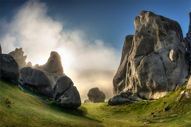 Surreal limestone rock formations at Castle Hill, Arthurs Pass Road, Canterbury New Zealand