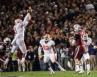 The tenth ranked South Carolina Gamecocks host the 6th ranked Clemson Tigers at Williams-Brice Stadium in Columbia, South Carolina.  USC won 31-17 for their fifth straight win over Clemson.  South Carolina Gamecocks quarterback Connor Shaw (14), Clemson Tigers defensive end Vic Beasley (3)