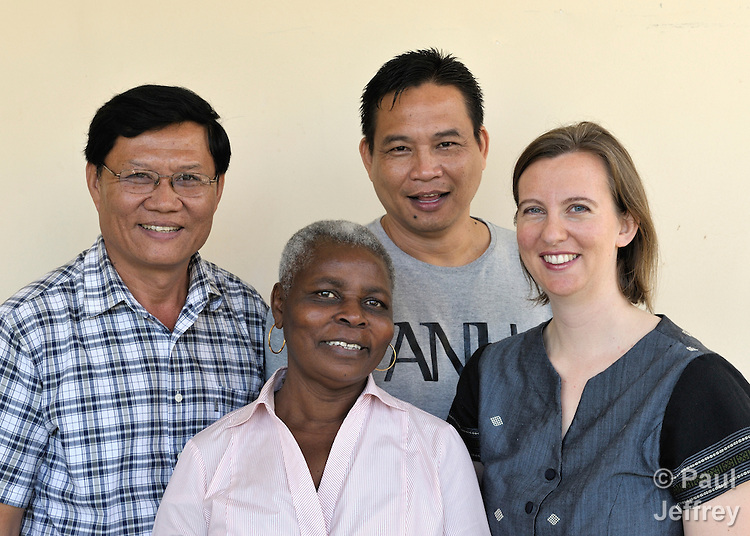 The staff of the Community Health and Agricultural Development program of the Methodist Mission in Cambodia. From left, Leng Thy, Irene Mparutsa, Ken Cruz, Katherine Parker