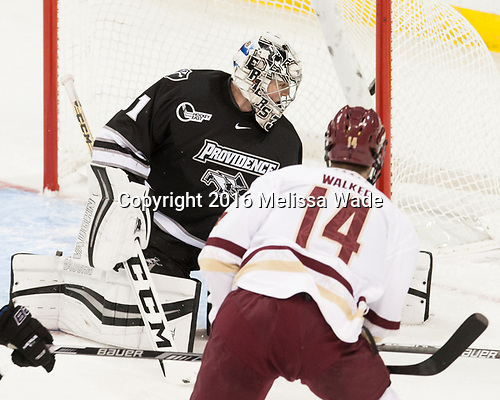 Hayden Hawkey (PC - 31), Zach Walker (BC - 14) - The Boston College Eagles defeated the visiting Providence College Friars 3-1 on Friday, October 28, 2016, at Kelley Rink in Conte Forum in Chestnut Hill, Massachusetts.The Boston College Eagles defeated the visiting Providence College Friars 3-1 on Friday, October 28, 2016, at Kelley Rink in Conte Forum in Chestnut Hill, Massachusetts.