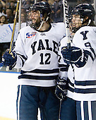 Ken Trentowski (Yale - 12), Andrew Miller (Yale - 17), Brian O'Neill (Yale - 9) - The Yale University Bulldogs defeated the Air Force Academy Falcons 2-1 (OT) in their East Regional Semi-Final matchup on Friday, March 25, 2011, at Webster Bank Arena at Harbor Yard in Bridgeport, Connecticut.