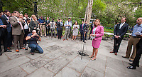 NY City Council Speaker Mellissa Mark-Vivertio at a news conference to introduce MOVE Systems new eco-friendly food carts  in Lower Manhattan in New York on Monday, May 11, 2015.  The MRV100 state-of-the-art carts reduce gas emissions and are better designed for sanitary food prep.They also come with First Data suppled iPads and a revenue management program. The first 500 vendors who switch to these carts will receive one at no cost. The carts use solar power, alternative fuel and a plug-in hybrid technology to reduce emissions and have a restaurant grade kitchen. (© Richard B. Levine)