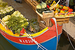 Fruit market on a boat - Campo San Barnarba - Venice Italy.