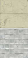 Giovanni Barbieri concept board showing Bianco Antico Timeworn 6x12 inch bricks, Statuary Carrara pencil molding honed, and Bianco Carrara Timeworn 2x2 inch bricks.