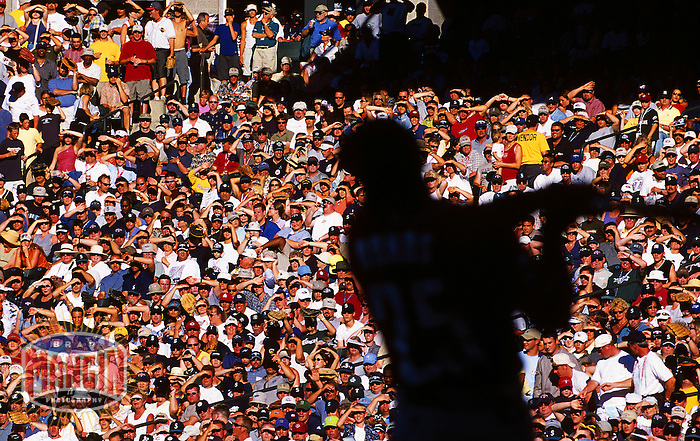 San Francisco Giants slugger Barry Bonds swings for the fences during the 2001 Home Run Derby during All Star Game festivities at Safeco Field in Seattle.