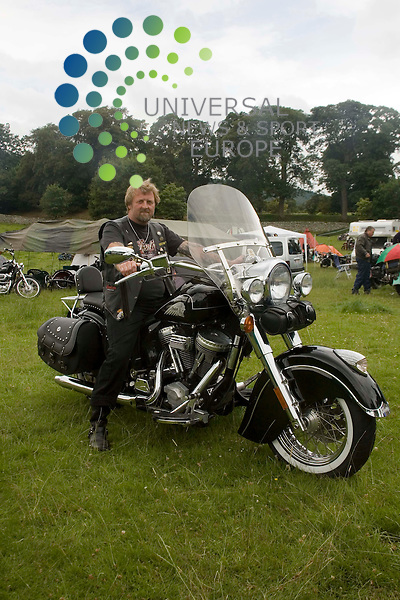 """Old Indians Never Die Motorcycle Rally, Traquair House, Innerleithen, Scotland..Clive """"Snowy"""" Inglis from Cam, Gloucestershire, England on board his 2002 Indian Chief de Luxe.Picture by Jim Carroll, taken 24/07/09"""