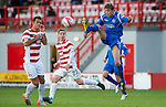 Hamilton Accies v St Johnstone..23.10.10  .Murray Davidson clears from Flavio Paixao and Jon Routledge.Picture by Graeme Hart..Copyright Perthshire Picture Agency.Tel: 01738 623350  Mobile: 07990 594431